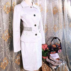 DOLCE&GABBANA Crystal Blazer Skirt Power Suit 40